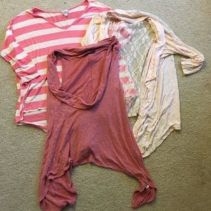Lot of 3 pink and white tops